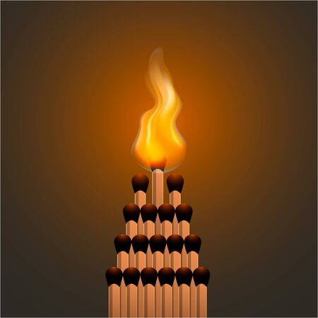 Realistic fire flames. Style illustration of bonfire. Icon for web. Ilustrace