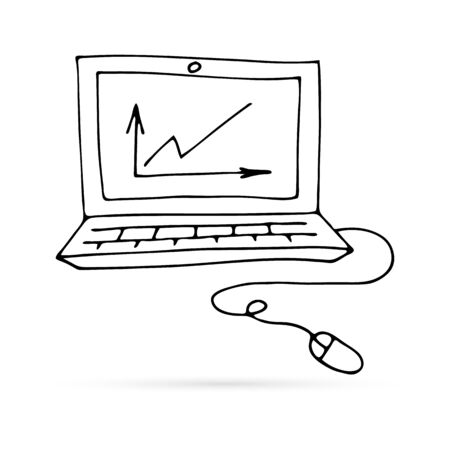 doodle computer with mouse icon, kds art line hand drawing, graph, vector illustration