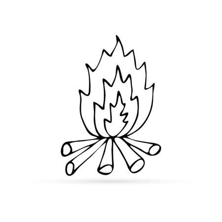 doodle fire icon, kids hand drawing bonfire, art line vector illustration
