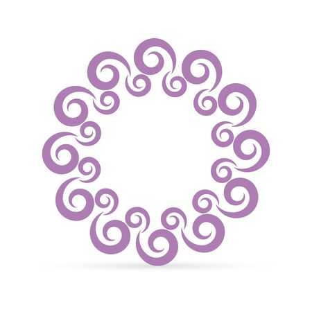 doodle border, spiral frame for design, art line, vector illustration  イラスト・ベクター素材