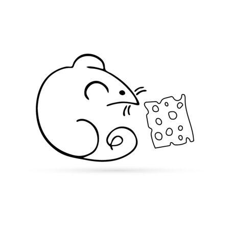 doodle mouse with cheese icon, kids hans drawing art line, vector illistration Ilustração
