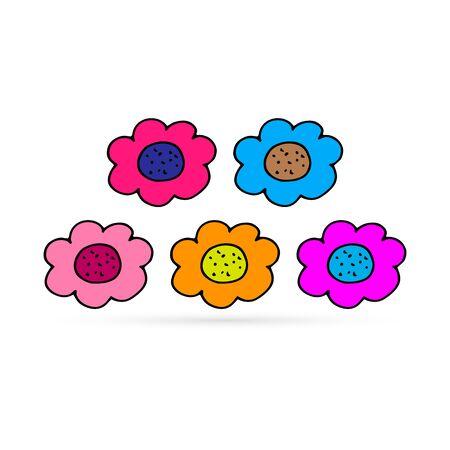 doodle flowers set, kids hand drawing line art, vector illustration