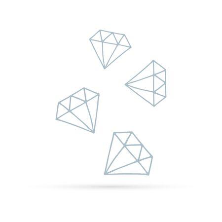 Doodle diamound icon. Vector shapes. Advertisement design concept, gemstone icon. Crystall symbol. Kids hand drawing art line. 版權商用圖片 - 135474555