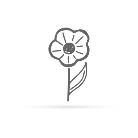 doodle flower icon, kids hand drawing line art, vector illustration Illusztráció