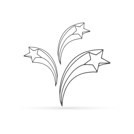 sketch doodle star icon, outline kids hand drawing art, line vector illustration 向量圖像