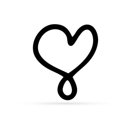 heart icon doodle isolated, outline kids hand drawing icon, sketch heart, vector illustration