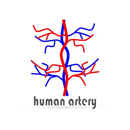 doodle human artery icon isolated, hand drawing art line, sketch vector illustration