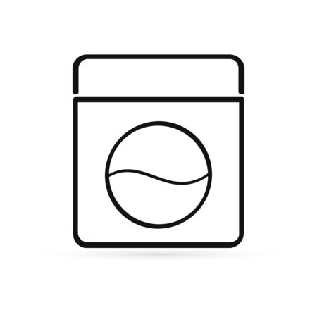 outline wash machine icon isolated, sketch , pictogram, vector illustration