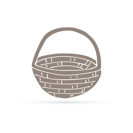 doodle autumn basket icon isolated, kids hand drawing art, sketch basket, vector illustration