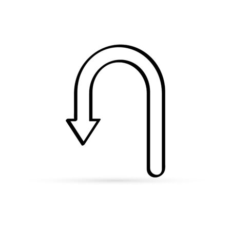 outline arrow return icon isolated on white, sketch sign of road, vector stock illustration
