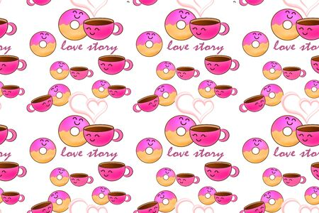 Love story donut and cup of coffee pattern. Doodle food with heart isolated on wite. Design for sweet cafe or kids cloth. Colored kids hand drawing art line. Vector stock illustration