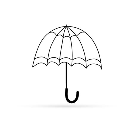 doodle coloring umbrella icon isolated on white, outline kids hand drawing