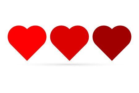 red heart icon set isolated on white, valentine symbol for wedding design, love vector stock illustration 向量圖像