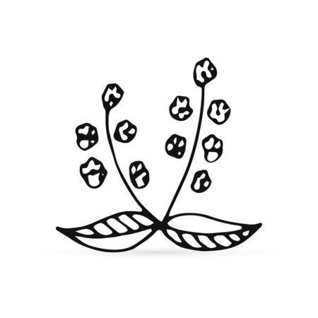 outline doodle flower with leaf isolated on white, sketch flower icon, kids hand drawing art line, vector stock illustration