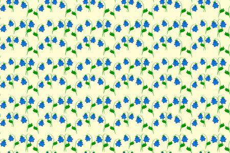 blue bellflower wit green leaf seamless pattern isolated on white, flower print, vector stock illustration