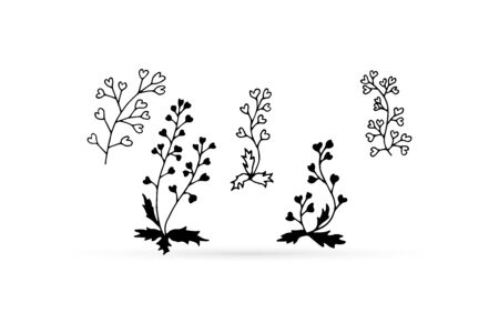 doodle flower set icon isolated on white, eco logo, outline hand drawing line art shepherds bag for eco design, sketch flower, vector stock illustration