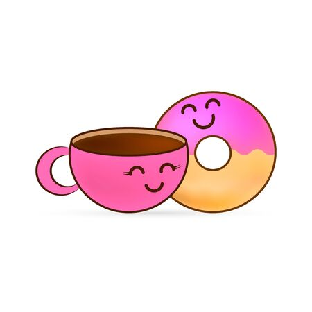 Love story donut and cup of coffee sticker. Doodle food icon. Design for sweet cafe or cloth. Kids hand drawing art line. Sketch vector stock illustration