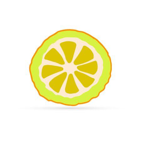 doodle line art lemon icon isolated on white, kids hand drawing exotic fruit, lemon sticker for eco design, vector stock illustration Ilustrace