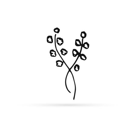 doodle abstract flower icon isolated on white, outline kids hand drawing line art branch with buds for eco design, sketch flower, vector stock illustration