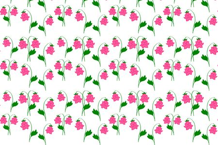 pink bellflower wit green leaf seamless pattern isolated on white, flower print, vector stock illustration