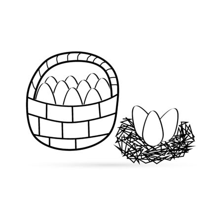 Outline basket with eggs and nest icon isolated on white. Easter symbol. Sketch kids hand drawing art line. Sticker. Coloring vector stock illustration