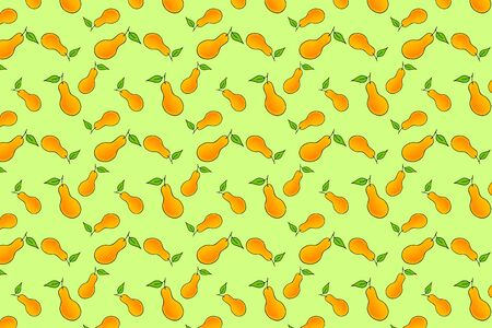 watercolor pear seamless pattern, doodle fruit, kids hand drawing art line, vector stock illustration 向量圖像