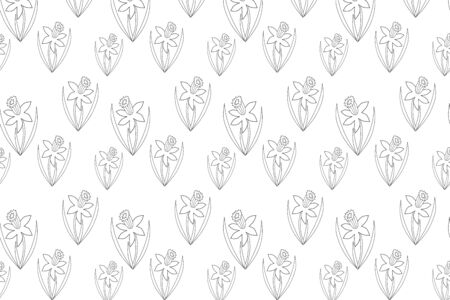 Outline narcissus seamless pattern isolated on white, coloring doodle flower, hand drawing art line, flower vector stock illustration
