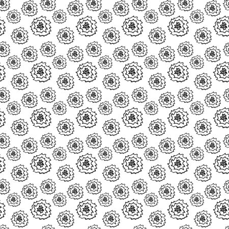 doodle flowers seamless pattern isolated on white, outline kids hand drawing line art rose for eco design, coloring sketch, flower vector stock illustration
