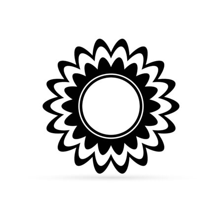 doodle sunflower icon isolated on white, outline vector stock illustration