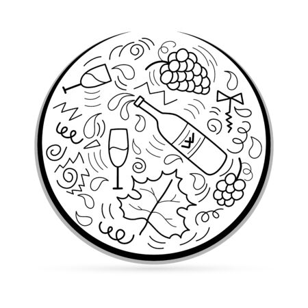 Outline bottle of wine, grapes, glass, drop set icon in circle isolated on white. Food silhouette. Sketch bunch of grapes with leaf. Flat icon. Vector stock illustration.