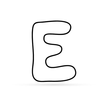 dodle letter e icon isolated on white for design, sketch kids hand drawing art line, coloring sticker letter, outline vector stock illustration 向量圖像
