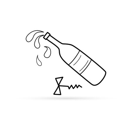 Outlone corkscrew with bottle of wine icon isolated on white, sketch hand drawing art line, vector stock illustration 向量圖像