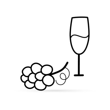 Outline glass of wine and grapes icon isolated on white. Sketch food silhouette. Autumn symbol. Flat icon. Vector stock illustration