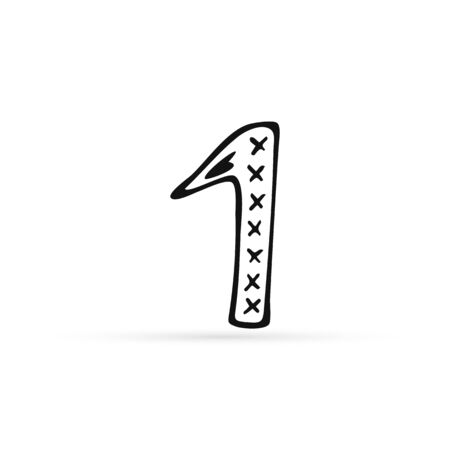 doodle numeral one icon isolated on white, bundle mathematics sign, outline kids hand drawing art line, sketch vector stock illustration