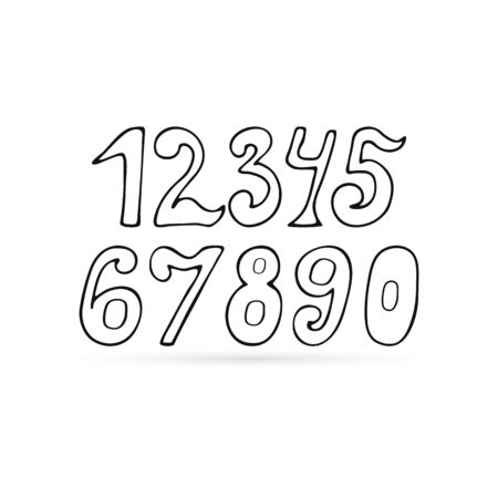 doodle numeral icon isolated on white, bundle mathematics sign, outline kids hand drawing art line, sketch vector stock illustration