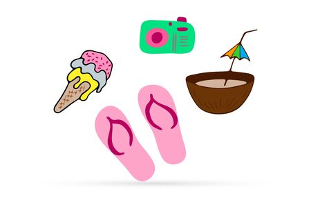 Beach sneakers, ice cream, photo camera coconut icon isolated on white, flip flops and food, kids hand drawing art, vector stock illustration
