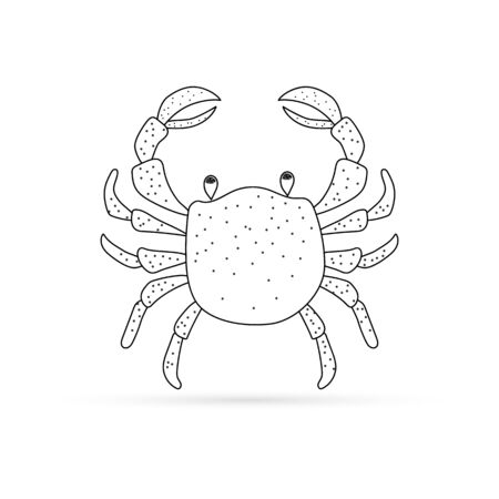 Doodle crab icon isolated on white. Seafood symbol. Template. Kids hand drawing art line. Sketch vector stock illustration