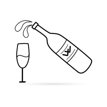 Outline bottle of wine and glass icon isolated on white. Sketch hand drawing art line. Drink vector stock illustration