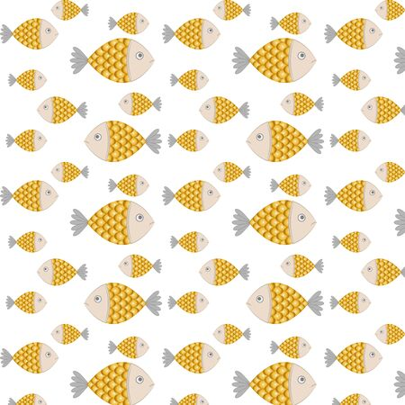 Doodle golden fish pattern. Seafood symbol. Template kids hand drawing art line. Symbol of fishing club or online shop. Vector stock illustration 向量圖像