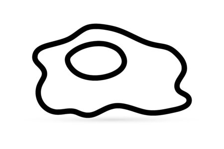 Doodle omelette icon isolated on white. Kids hand drawing art line. Outline egg. Stetch food vector stock illustration