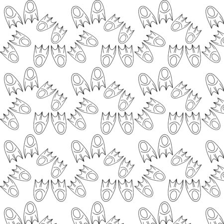 Doodle flippers seamless pattern isolated on white. Kids hand drawing art. Vector stock illustration 向量圖像