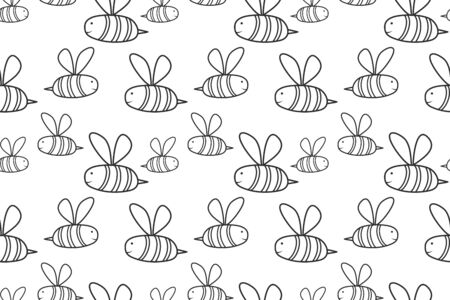 Doodle bee seamless pattern isolated on white. Outline kids hand drawing art. Sketch vector stock illustration