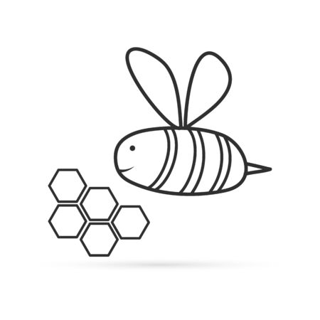 Outline doodle bee icon isolated on white. Kids . Hand drawing vector stock illustration