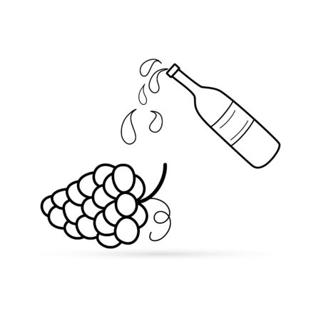 Outline buttle of wine and grape icon isolated on white. Food, drink sketch. Doodle silhouette. Autumn symbol. Bunch of grapes. Flat icon. Vector stock illustration