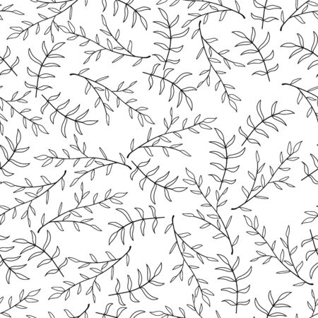 Doodle branch with leaf seamless pattern isolated on white. Kids hand drawing line art. Spring, summer or autumn symbol. Vector stock illustration