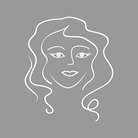 Outline silhouette of young woman. Sketch female vector icon. Face profile view. Woman profile with long hair. Hair style icon. Doodle vector stock illustration 向量圖像