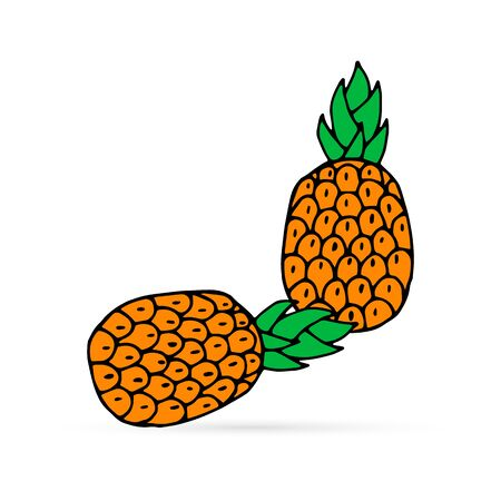 Doodle pineapple icon isolated on white. Hand drawing art line. Colored food sticker. Vector stock illustration