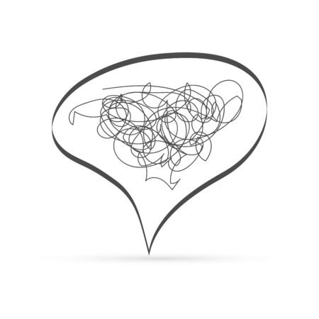 Outline chat icon flat isolated. Messy Speech symbol for web site design, app, UI. Doodle vector stock illustration. Sketch budge discussion, dialogue, correspondence character
