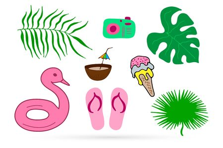 Beach sneakers, ice cream, photo camera, coconut, leaf of palm icon isolated on white. Flip flops and food, kids hand drawing art. Vector stock illustration