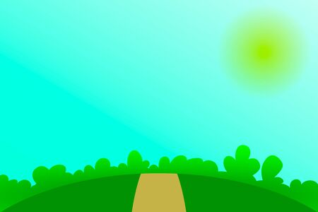Nature landscape with road, sky, sun, tree. Summer background for design. Vector stock illustration 向量圖像